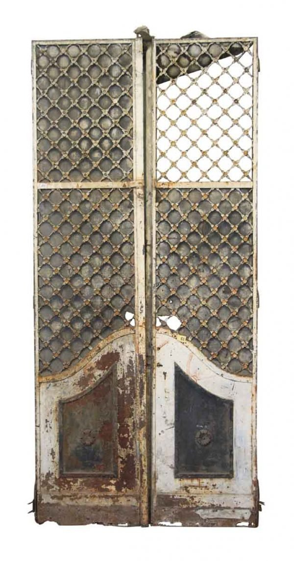 19th Century French Provincial Woven Iron Doors with Floral Rosettes - Entry Doors