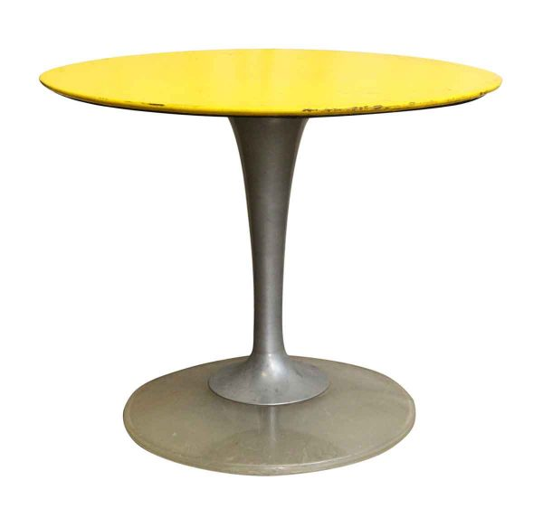 Yellow & Brushed Chrome Cafe or Ice Cream Parlor Table - Commercial Furniture