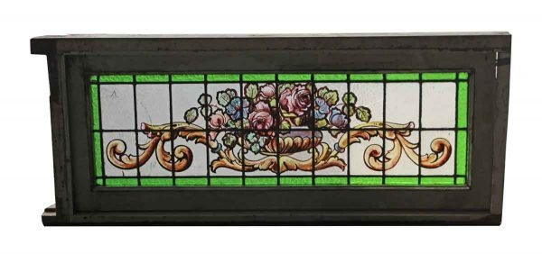 Leaded Floral Painted Glass Window - Stained Glass