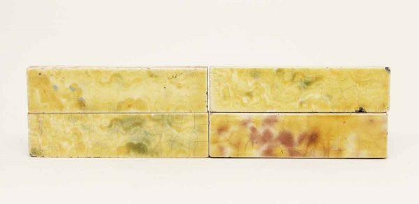 Set of Four Yellow Crackled Shiny Tiles - Wall Tiles