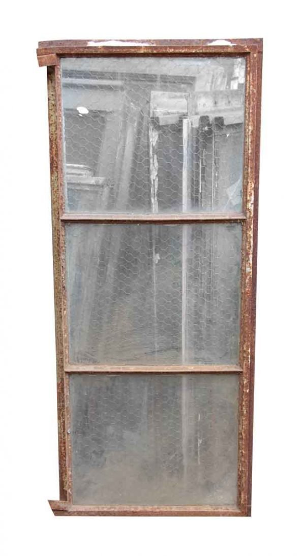 Encasement Window Chicken Wire Glass Panels with Steel Frame - Reclaimed Windows