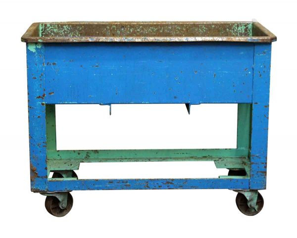 Blue & Green Rolling Industrial Tub Cart - Industrial