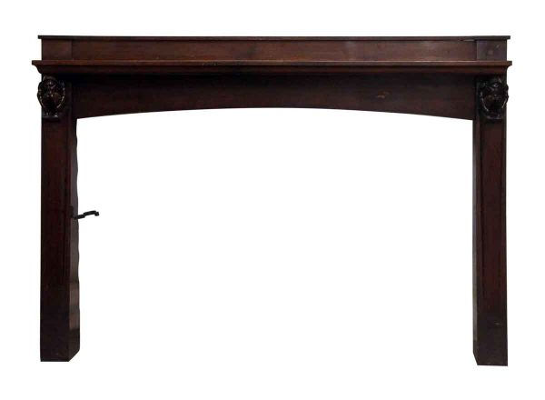 Arts & Crafts Dark Stained Carved Figural Mantel - Mantels