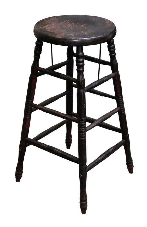 Black Worn Wooden Stool - Seating