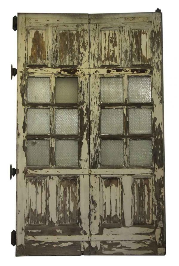 Large Wooden Doors with Six Chicken Wire Glass Panels - Entry Doors