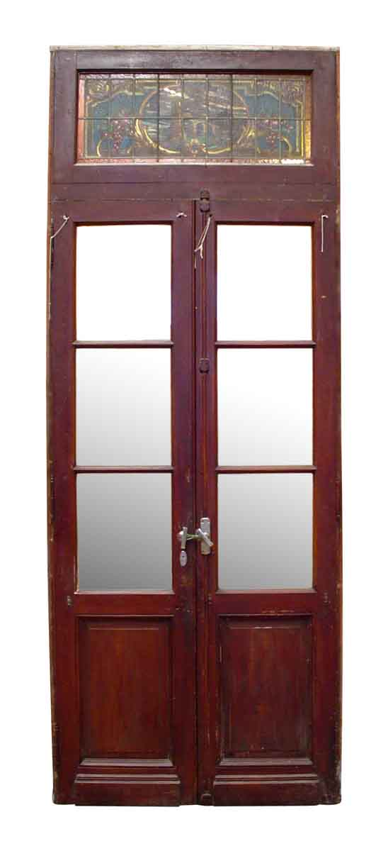 Double Doors with Stained Glass Transom - Entry Doors