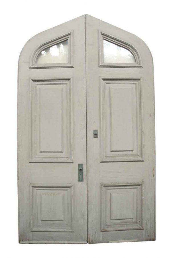 Pair of Large Tudor Style Double Doors with Wavy Glass - Arched Doors
