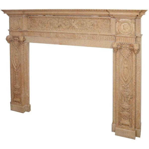 19th Century Edwardian Intricately Carved Sienna Marble Mantel - Danny Alessandro Mantels