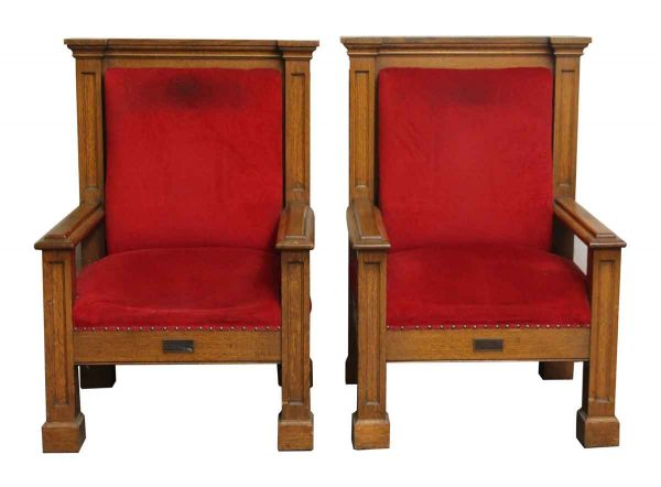 Pair of Mission Style Wood Frame Chairs - Seating