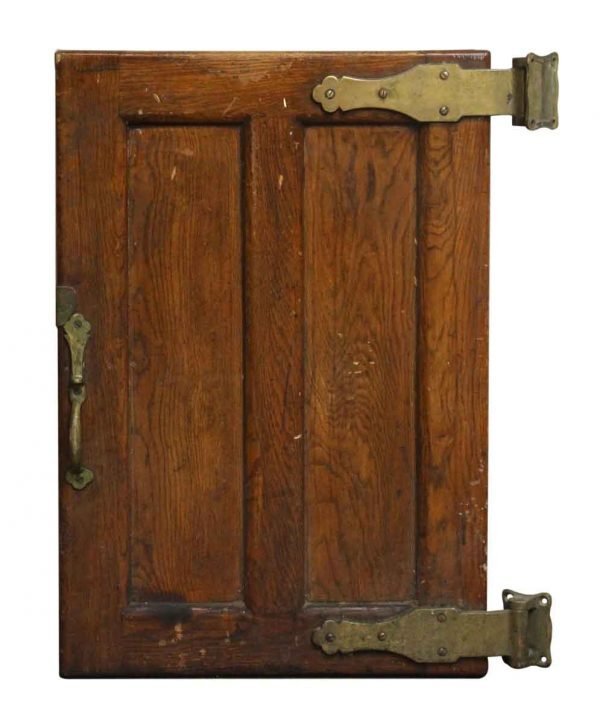Old Wooden Refrigerator Door with Bronze Hardware - Cabinet Doors