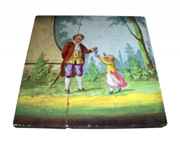 'Man Giving Toy To Child' Vintage Hand Painted Tile - Collectors Tiles