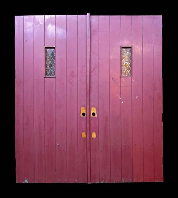 Antique Oak Double Doors with Leaded Glass - Commercial Doors