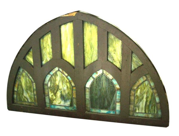 Peaked Gothic Transom with Green Slag Glass - Stained Glass