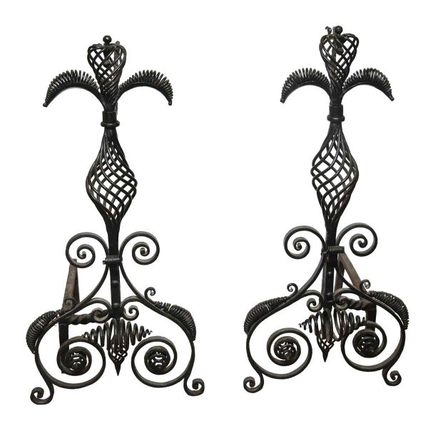 Pair of Unique Large Hand Wrought Andirons - Andirons