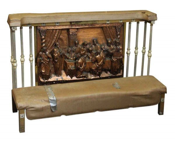 Kneeler Bench with Raised Copper Panel of the Lord's Supper - Religious Antiques