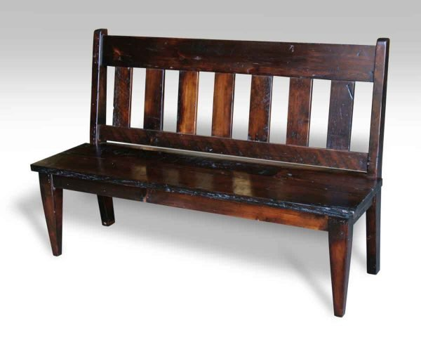 Slat Back Antique Pine Bench with Dark Stain
