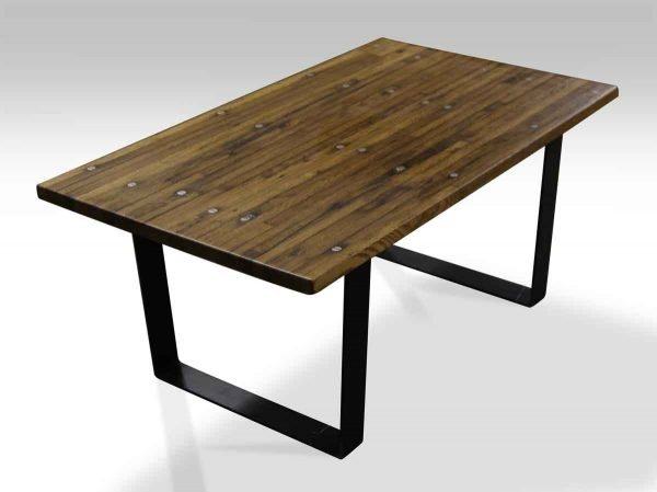 Industrial Flooring Top Coffee Table with Black Steel Legs
