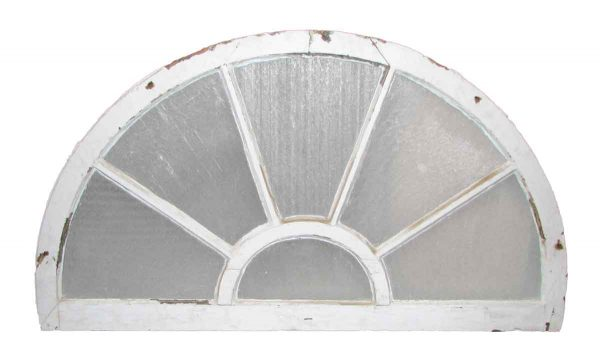 Reclaimed Fan Shaped Light Transom with Original Rippled Glass