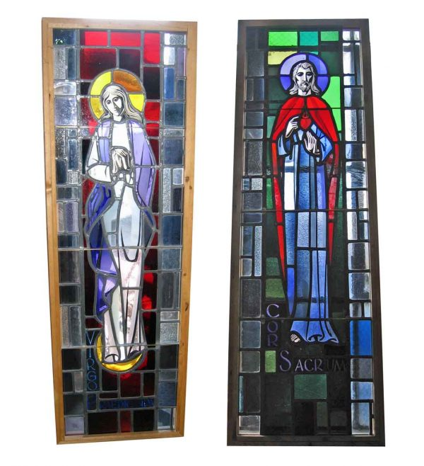 Pair of Brightly Colored Salvaged Church Windows