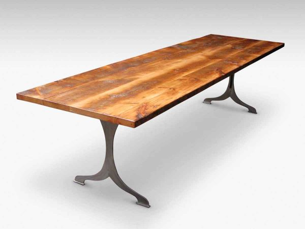 Extra Wide White Pine Table Top with Brushed Steel Legs