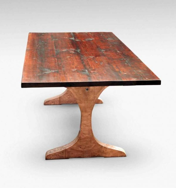 Reclaimed White Pine Table with Copper Clad Legs