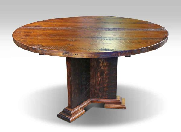 Round Reclaimed Wood Semi Rustic Pine Table