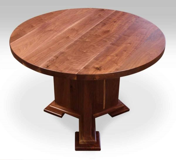 Round Walnut Farm Table with Y Wooden Base