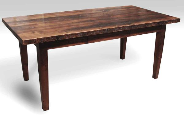 Pine Farm Table with One Drawer & Tapered Legs
