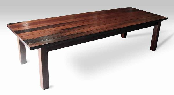 Ipe Wood Plank Farm Table with Square Legs