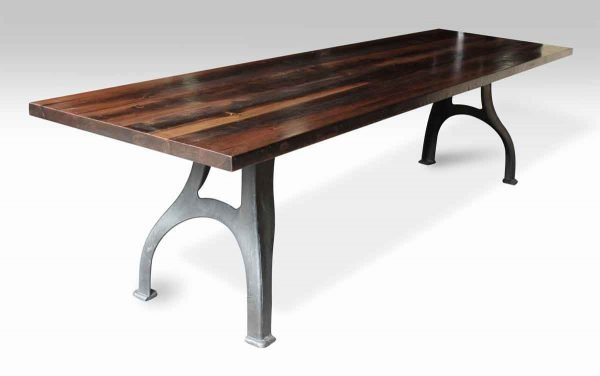 Reclaimed Pine Top Farm Table with Curved Industrial Legs