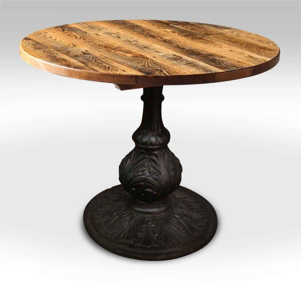 Round Oak Bistro Table with Ornate Ball Base