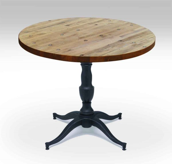 Round Industrial Flooring Bistro Table with Victorian Base