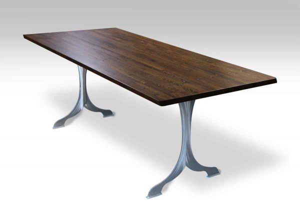 Industrial Flooring Top Table with Brushed Steel Wishbone Legs