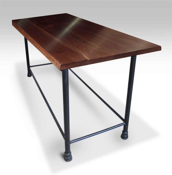 Walnut Top Table with Pipe Bar Height Base