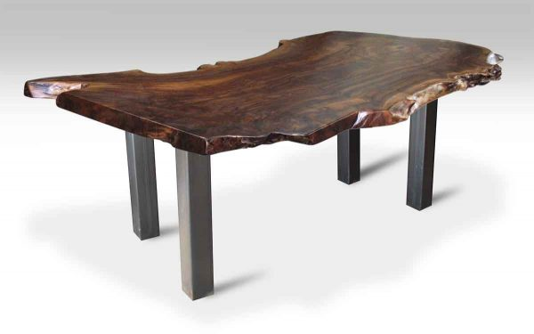 Walnut Slab Top Table with Metal Square Legs