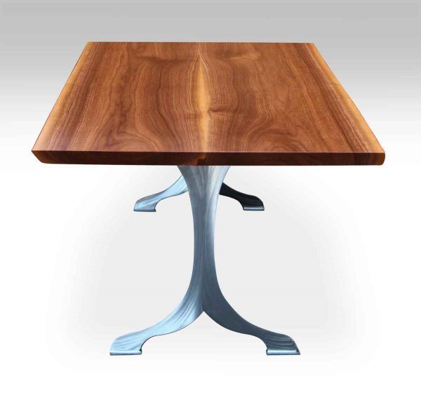 Live Edge Walnut Table with Two Extensions & Brushed Steel Legs