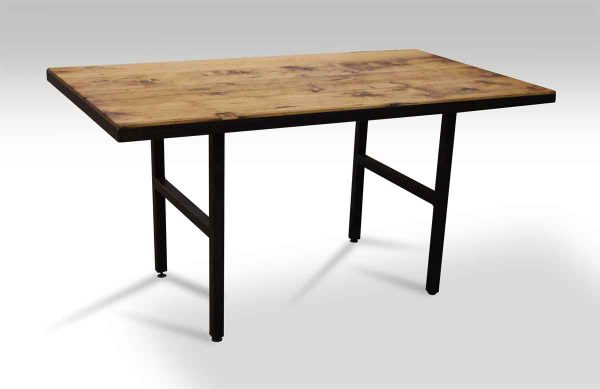 Pine Top Table with Black Ladder Metal Legs