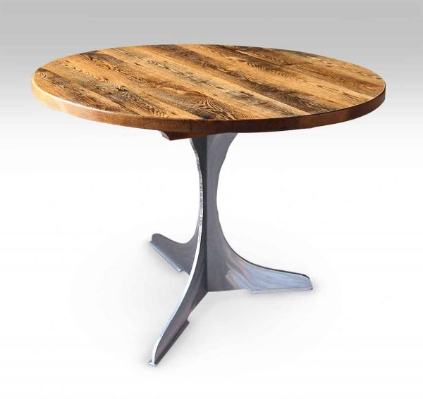 Round Oak Top Bistro Table with Steel Pedestal Base