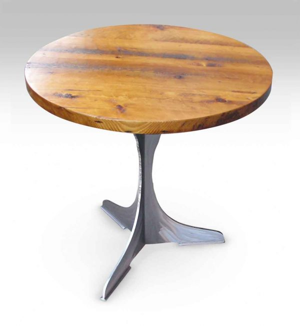 Round Pine Top Bistro Table with Steel Pedestal Base