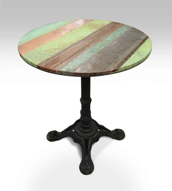 Copper Patch Bistro Table with Ornate Iron Base