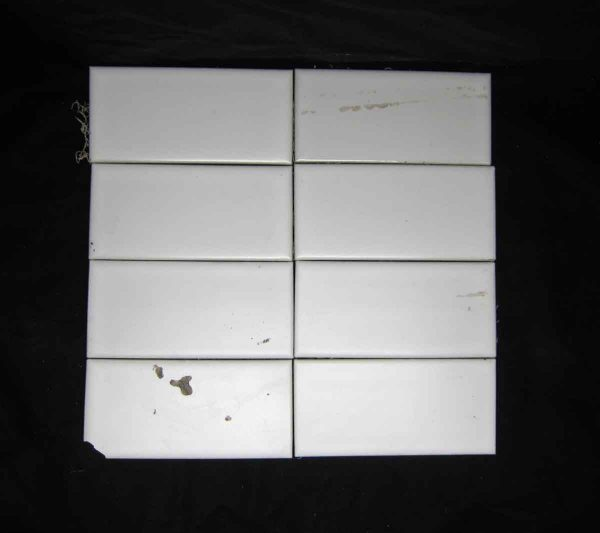 Salvaged Set of Eight Plain White Tiles - Wall Tiles