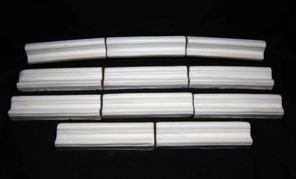 Salvaged Set of 11 White Edge Tiles - Bull Nose & Cap Tiles