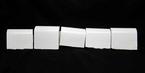 Salvaged Set of Five White Outside Corner Cap Tiles - Bull Nose & Cap Tiles