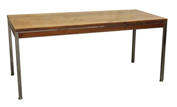Long Wood Table with Chrome Frame - Kitchen & Dining