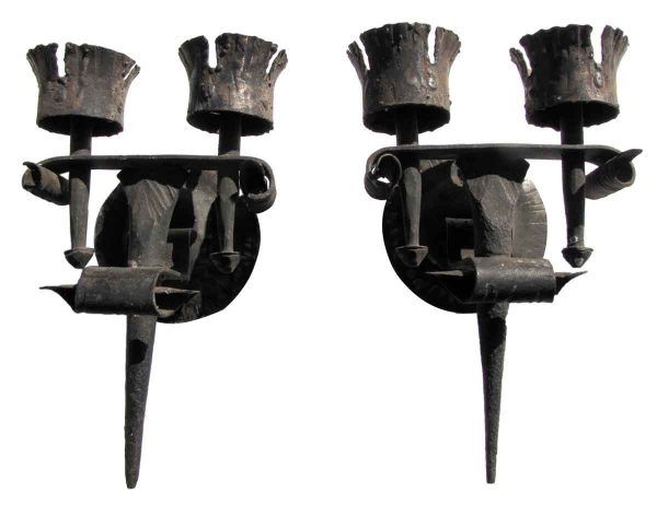 Pair of Antique Black Arts & Crafts Wrought Iron Sconces - Sconces & Wall Lighting