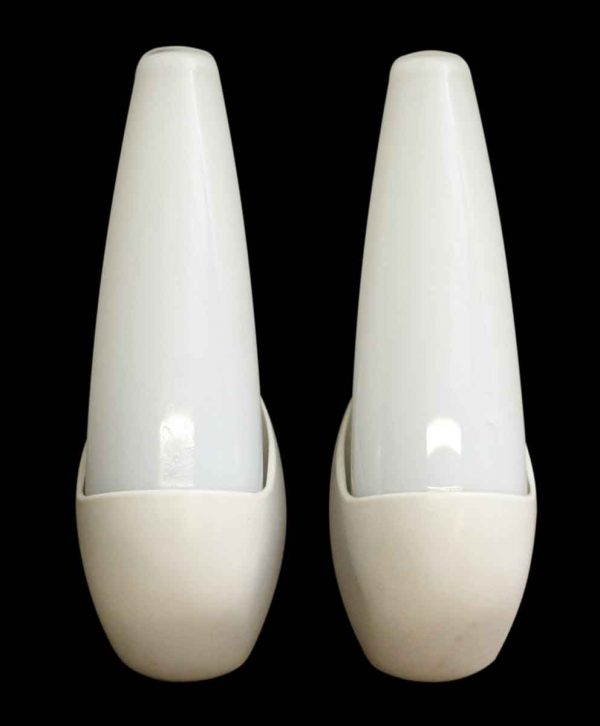 Pair of Mid Century Modern Sconces with Plastic Base - Sconces & Wall Lighting