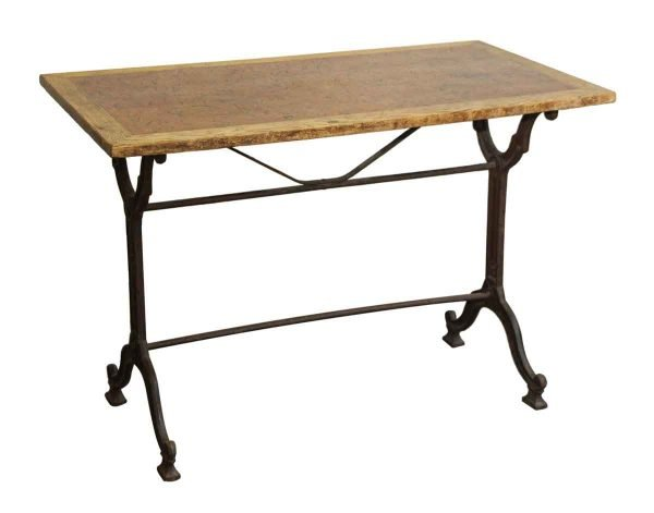 French Wood & Cast Iron Bistro Table - Kitchen & Dining