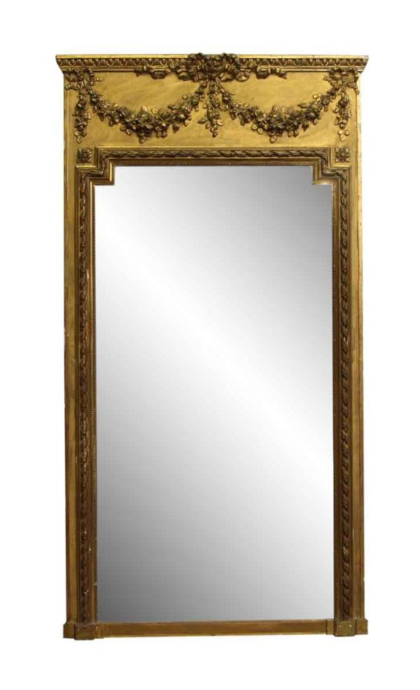 Antique Tall Gilded French Mantle Mirror - Antique Mirrors