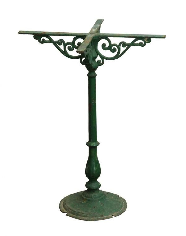 Antique French Green Iron Pedestal Table Base - Table Bases