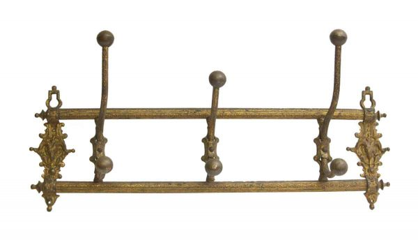 Antique European Ornate Brass Hook Wall Rack - Racks